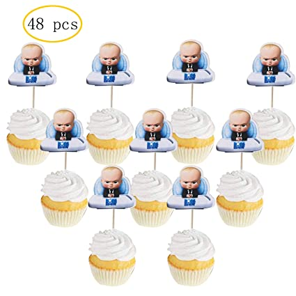 48 Pcs Boss Baby Cupcake Toppers Kids Birthday Party Baby Shower Cake Decorations 48 Pcs
