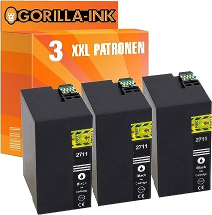 Gorilla Ink 3 Patronen Xxl Kompatibel Mit Epson T2711 27xl 27 Xl Black Geeignet Für Epson Workforce Wf 3620 Dwf Wf 3620 Wf Wf 3640 Dtwf Wf 7110 Dtw Wf 7210 Dtw Bürobedarf Schreibwaren