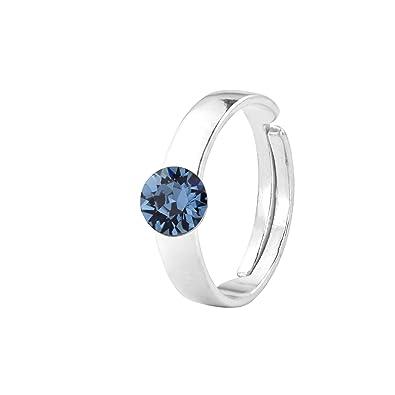 aa1477d04 ARLIZI ring blue Swarovski crystal 6mm sterling silver 1410: Amazon.co.uk:  Jewellery