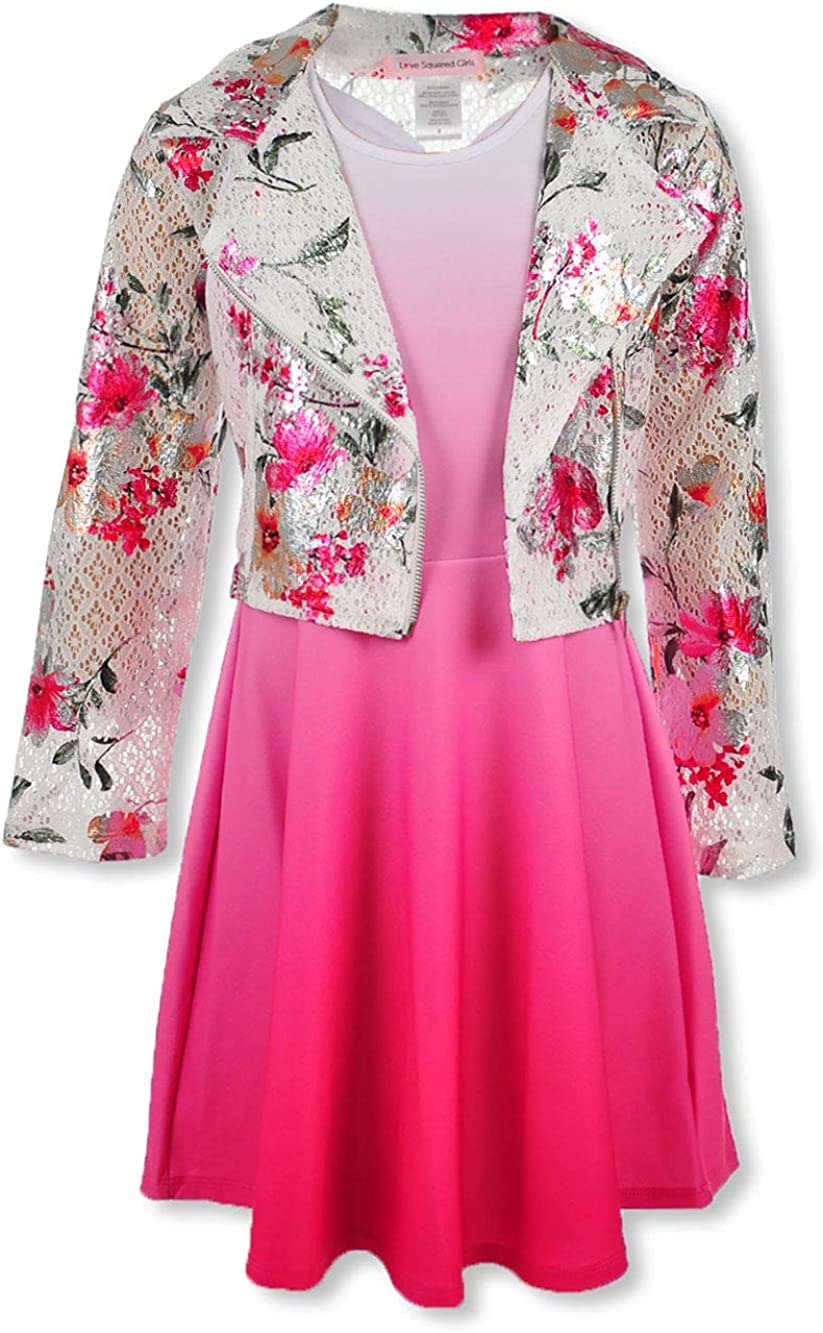 Love Squared Girls Girls Lace Blossom Moto 2-Piece Dress Set