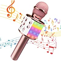 Bluetooth Karaoke Microphone with LED Lights, Wireless 4 in 1 Portable Handheld Microphones, Best Gift Toys for Kids…