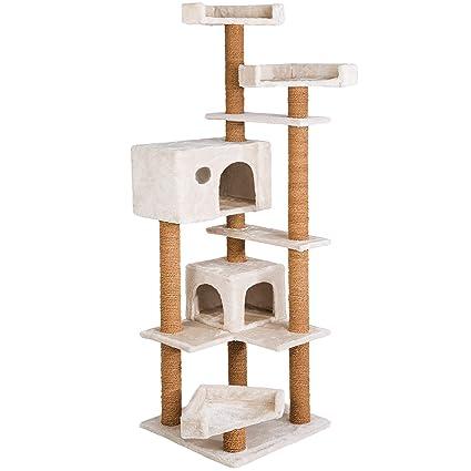 TecTake Rascador àrbol para gatos árbol de actividades | cuerda de coco | 166 cm de