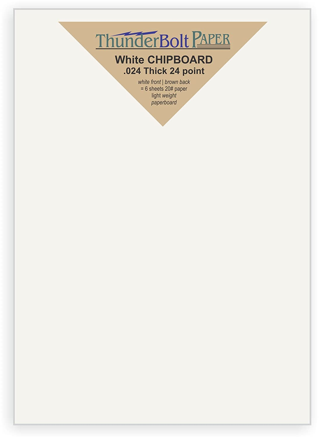 point Light Medium Weight Thickness PaperBoard .024 Photo|Card|Frame Size 5X7 Inches 50 Sheets Chipboard 24pt white 1 side Caliper White Coated Cardboard Paper 5 X 7