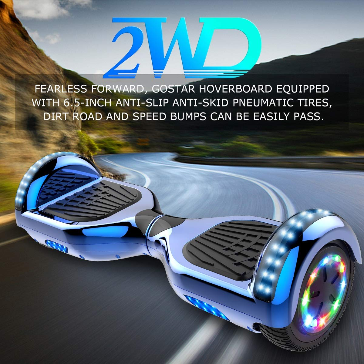 2WD Hoverboard 8 Scooter Eléctrico 2 Rueda Self Balancing Scooter con Bluetooth y LED Luz Scooter Eléctrico 8