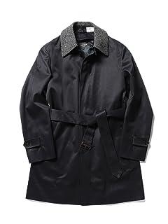Harris Tweed Collar Cotton Gabardine Coat 51-19-0175-565: Navy