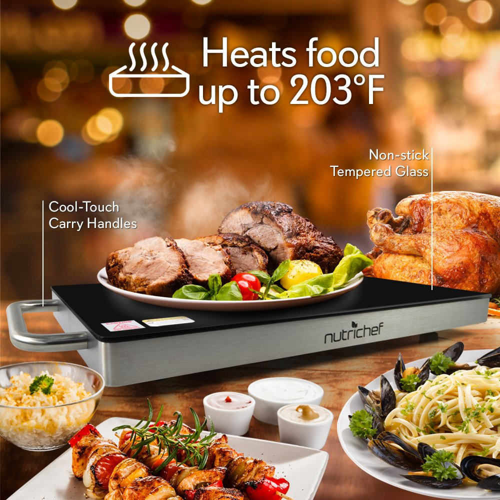 NutriChef Portable Electric Hot Plate - Stainless Steel Warming Tray Dish Warmer w/ Black Glass Top - Keep Food Warm for Buffet Serving, Restaurant, Parties, Table or Countertop Use - PKWTR45 by NutriChef (Image #3)