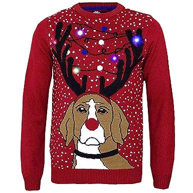 Threadbare Light Up 3D Christmas Jumpers - Grumpy Dog - Red - Medium - Threadbare Light Up 3D Christmas Jumpers - Grumpy Dog - Red - Medium