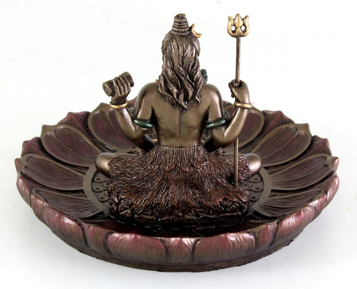 Top Collection Hindu God Shiva in Meditation Round Incense Holder Plate Incense Burner by Top Collection (Image #4)