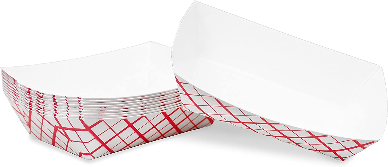 1/4 lb Red White Plaid Disposable Paper Food Tray for Carnivals, Fairs, Festivals, Concession Stands, Food Trucks (Red Check - mini 1/4 lb, 50)
