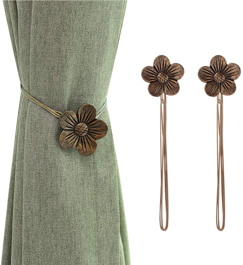 Lewondr Vintage Magnetic Curtain Tieback, 1 Pair Resin Flower Curtain Drapery Holdback Window CurtainDecorative Buckle Holder for Home Cafe Balcony - Coffee Coffee 2 Pieces