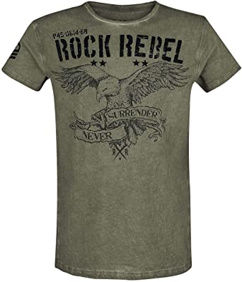 Rock Rebel by EMP Rebel Soul Hombre Camiseta Verde, Regular: Amazon.es: Ropa y accesorios