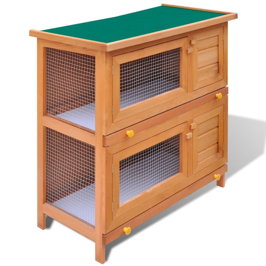 vidaXL 36'' Wooden Rabbit Hutch Bunny Cage Small Animal House Hen Poultry Cage 4 Doors by vidaXL (Image #2)