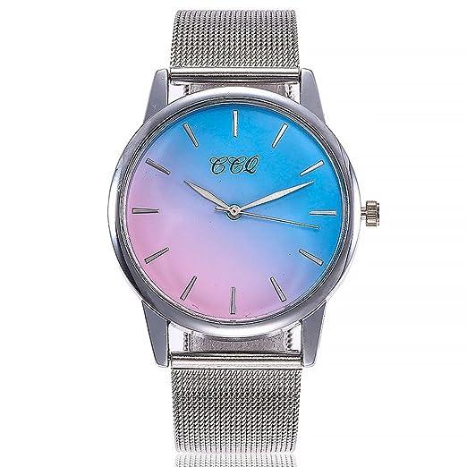 Relojes Mujer,❤LMMVP❤Casual de cuarzo de acero inoxidable banda de mármol correa