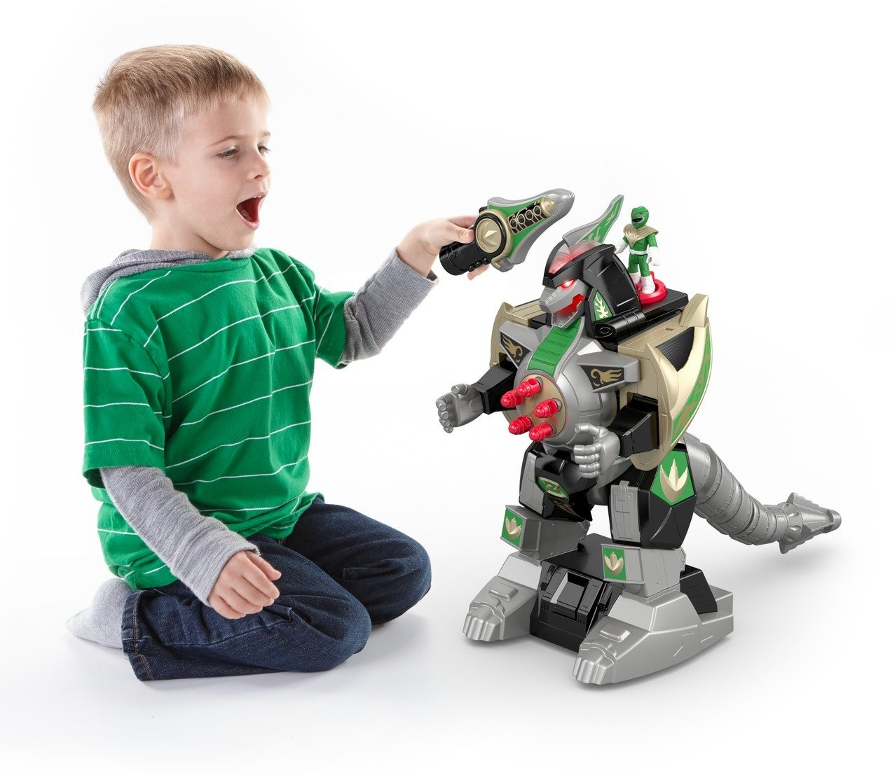 Fisher-Price Imaginext Power Rangers Green-Ranger and Dragonzord R/C Vehicle Mattel DFX51