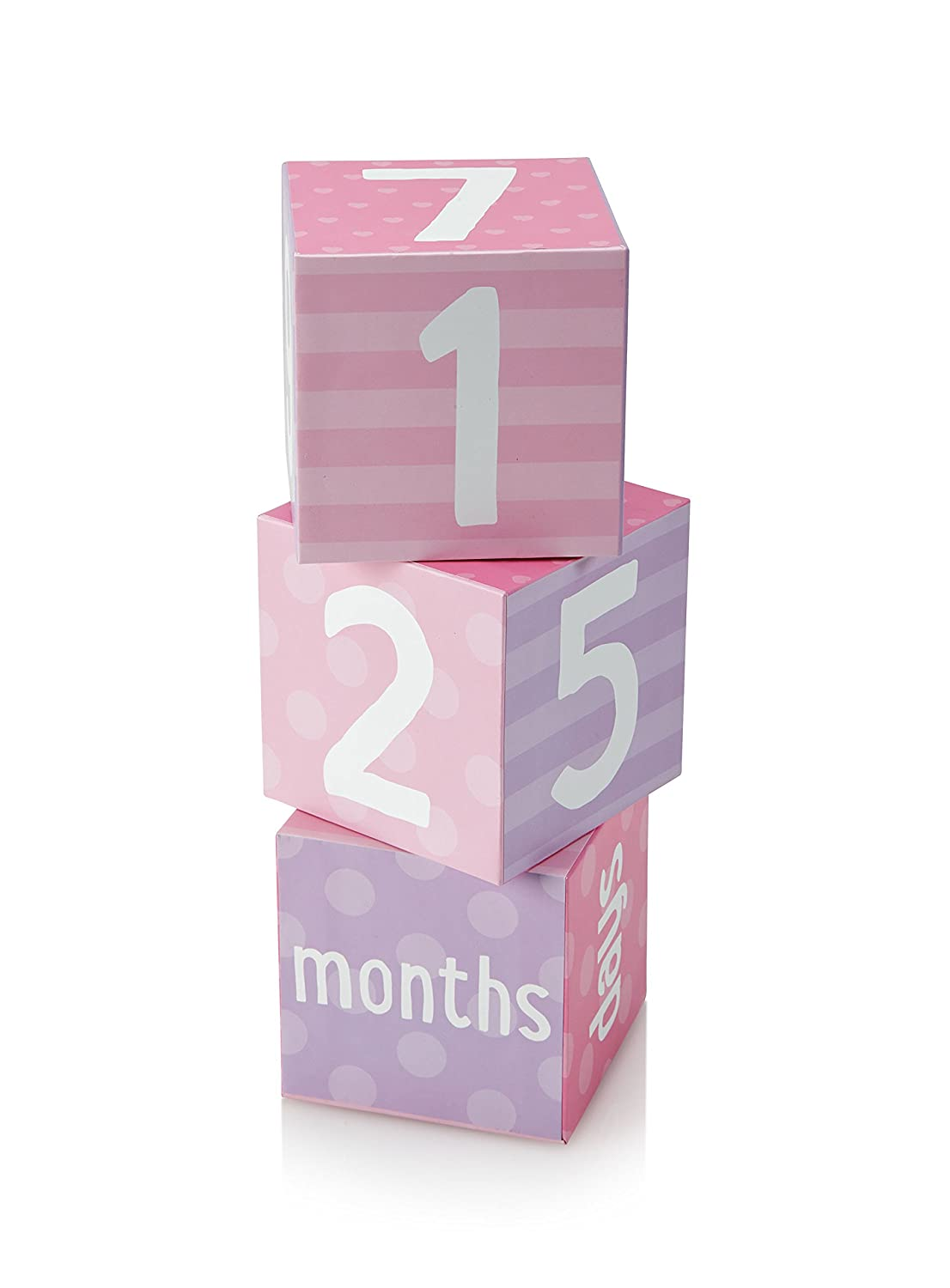 Tiny Ideas Photo Sharing Keepsake Age Blocks, Perfect Gift for New Parents, Pink Purple