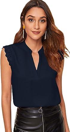 Soly Hux - Blusa sin mangas para mujer, con encaje, top de verano, muselina, blusa, elegante, informal