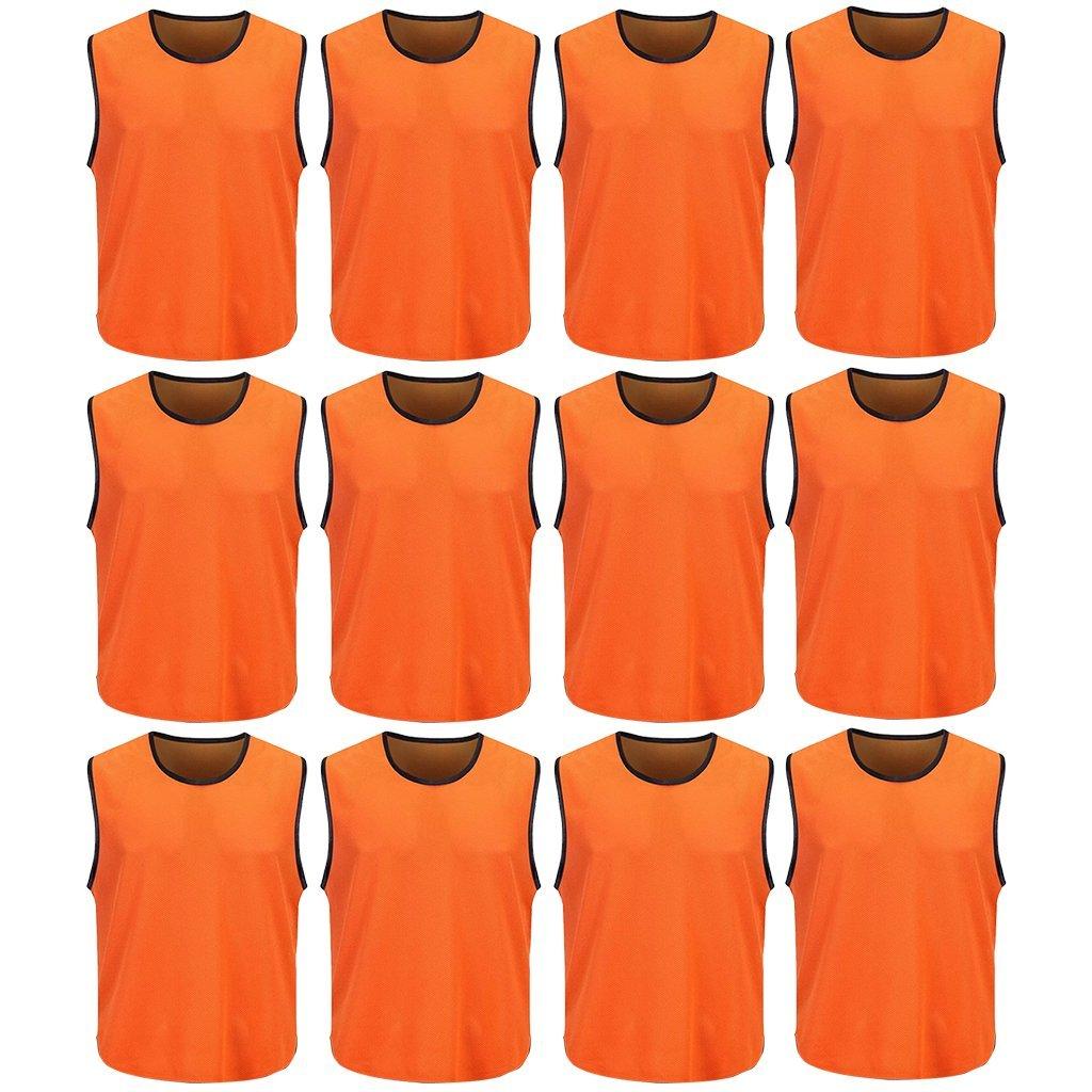 DreamHigh 12 Pack Soccer Team Sports Training Vest Adult Orange