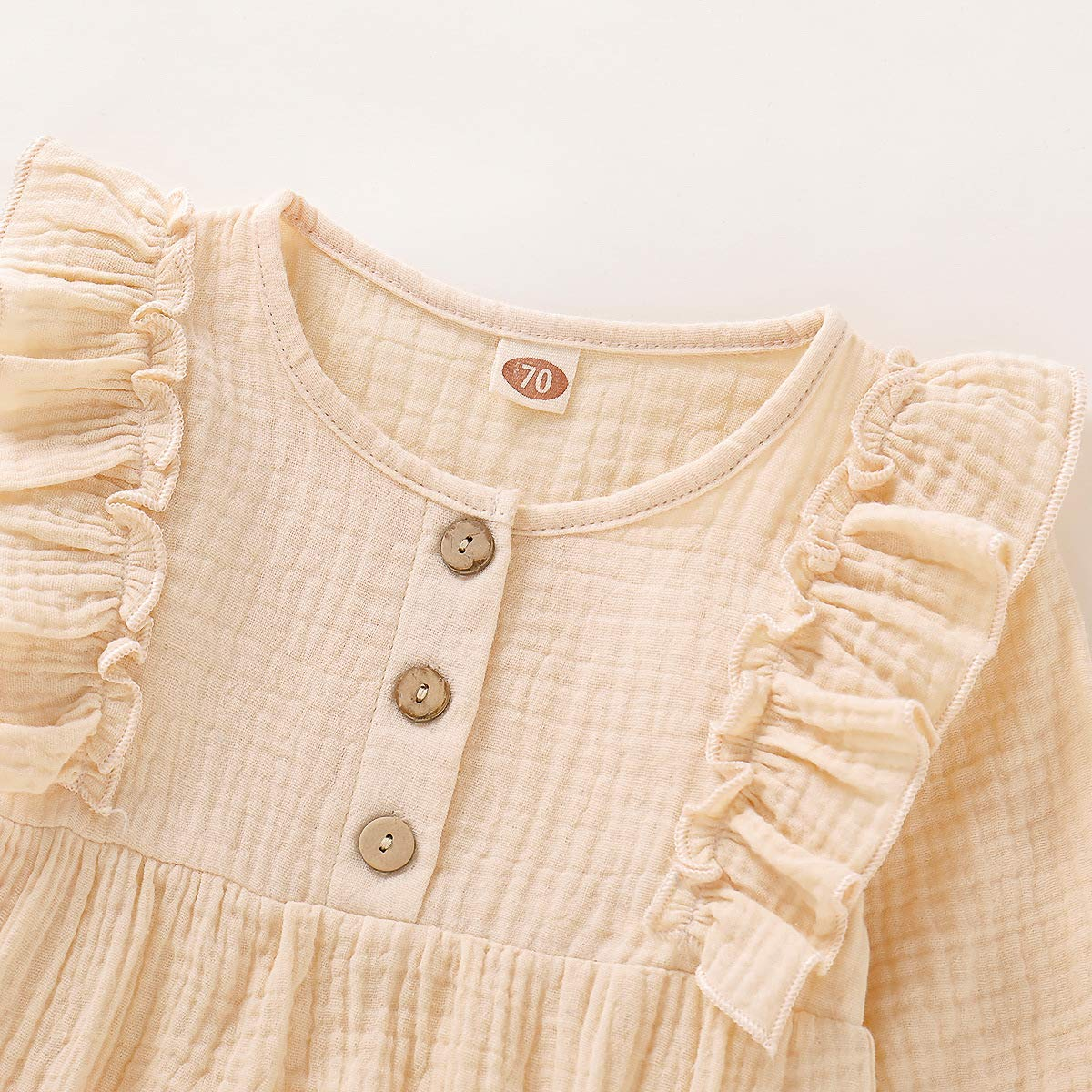 fhutpw Baby Girls Romper Bodysuit Jumpsuit Solid Color Long Sleeve Ruffled Newborn Autumn Outfit