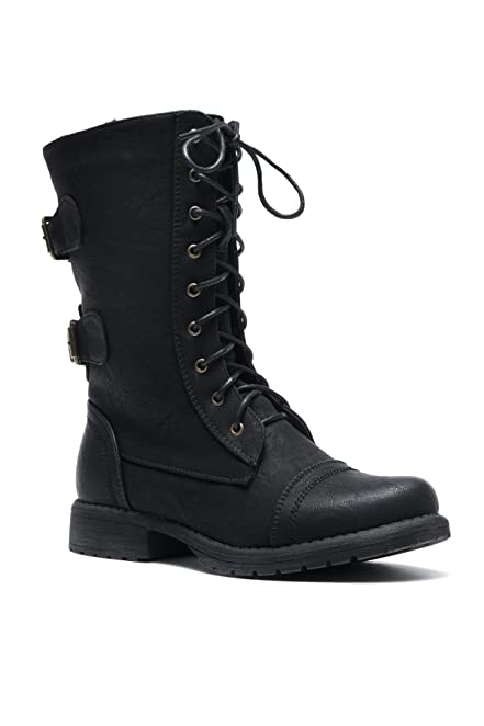 Florence2 Women's Military Ankle Lace Up Buckle Combat Boots Mid Knee Booties