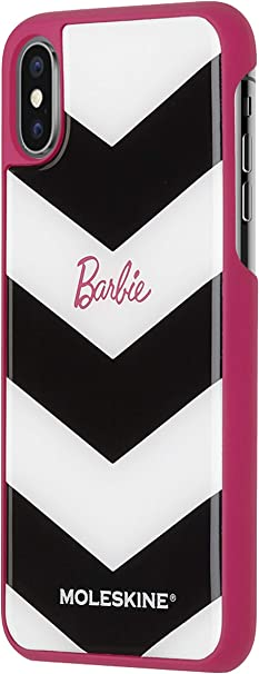 Moleskine Cover Rigida Classic per Iphone X/XS, Custodia per Smartphone con Quaderno Volant Journal XS per Appunti, Tema Barbie e Motivo Chevron