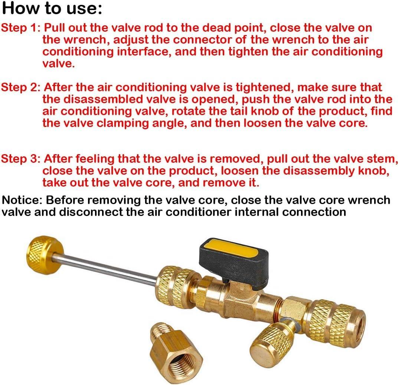 R410A R22 Dual Size SAE Port HVAC Valve Core Removal Installer Tool 1pcs Valve Core Disassembly Handling Wrench Tool QQSA Valve Core Disassembly Wrench