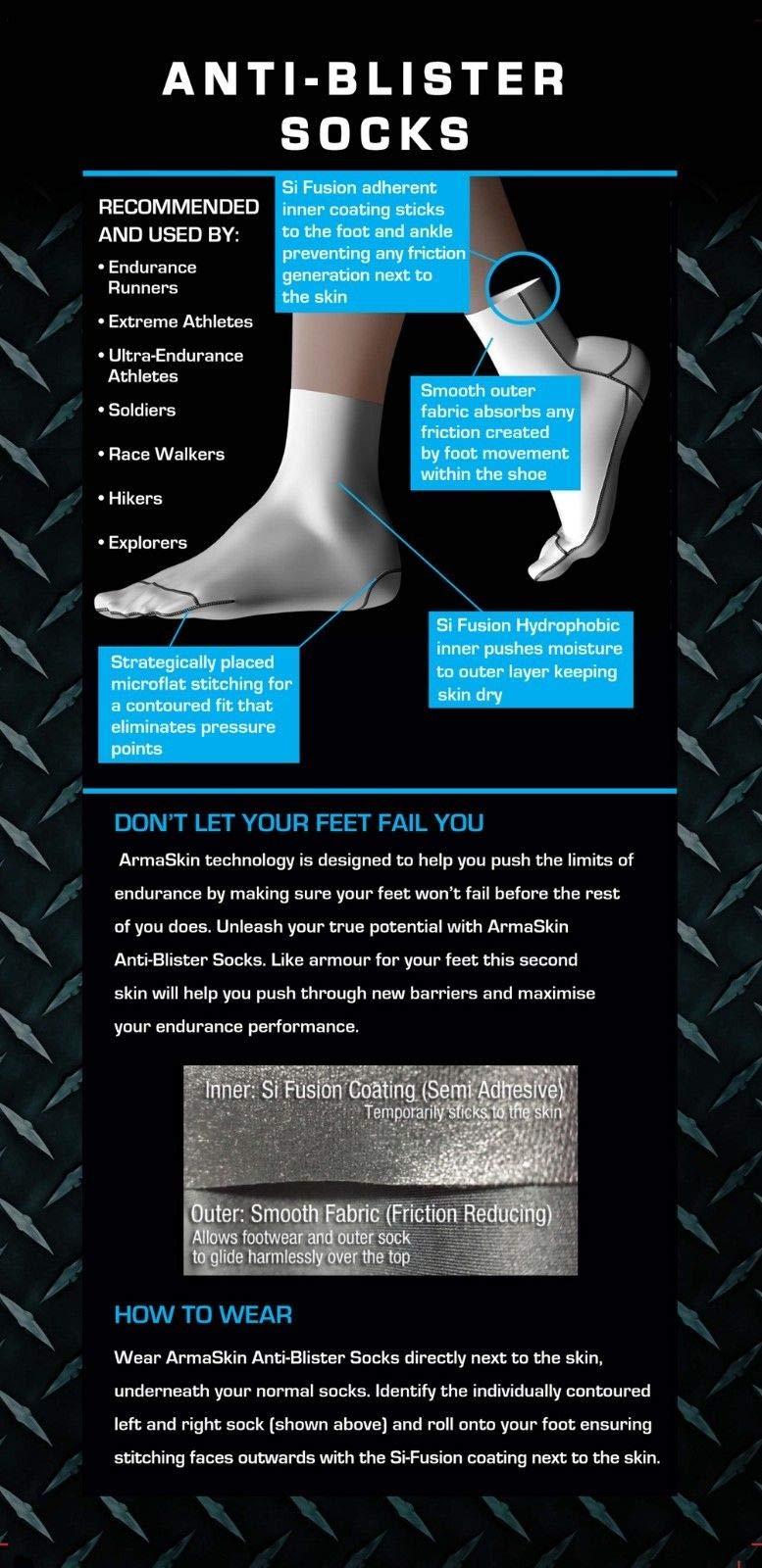 ArmaSkin Extreme Anti-Blister Hiking Crew Socks for Men and Women (Black, X-Large) by ArmaSkin