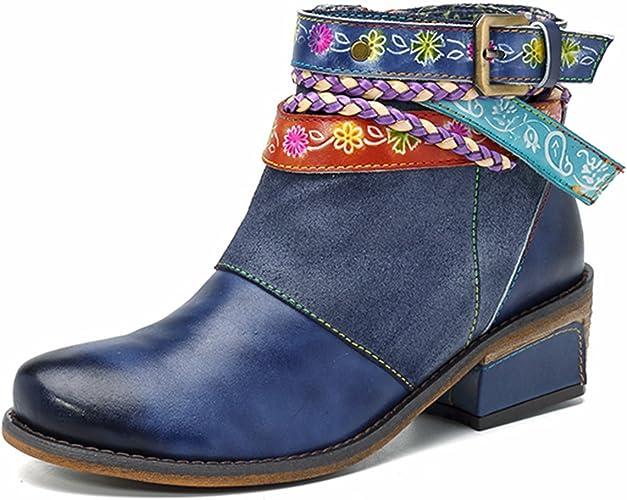 Socofy Boots Stiefel Stiefeletten Schuhe Leder Lederschuhe Blume