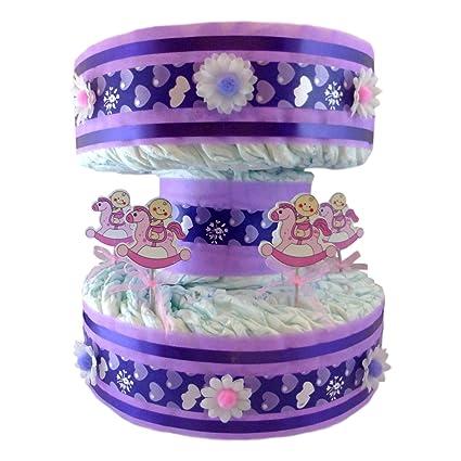 Tarta de pañales Carrusel Tiovivo para niña: Amazon.es: Bebé