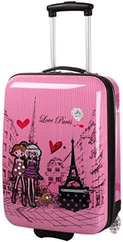 Valise Cabine Rose pour Fille motif Paris Love.