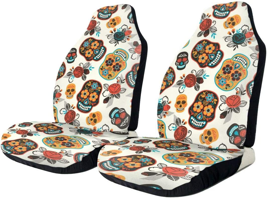 Mexico Sugar Skull Car Seat Covers Front Seat Protector Universal Fit for Auto Truck Van SUV