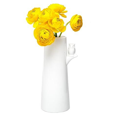 Amazon Chive Hoot Porcelain White Flower Vase With Owl