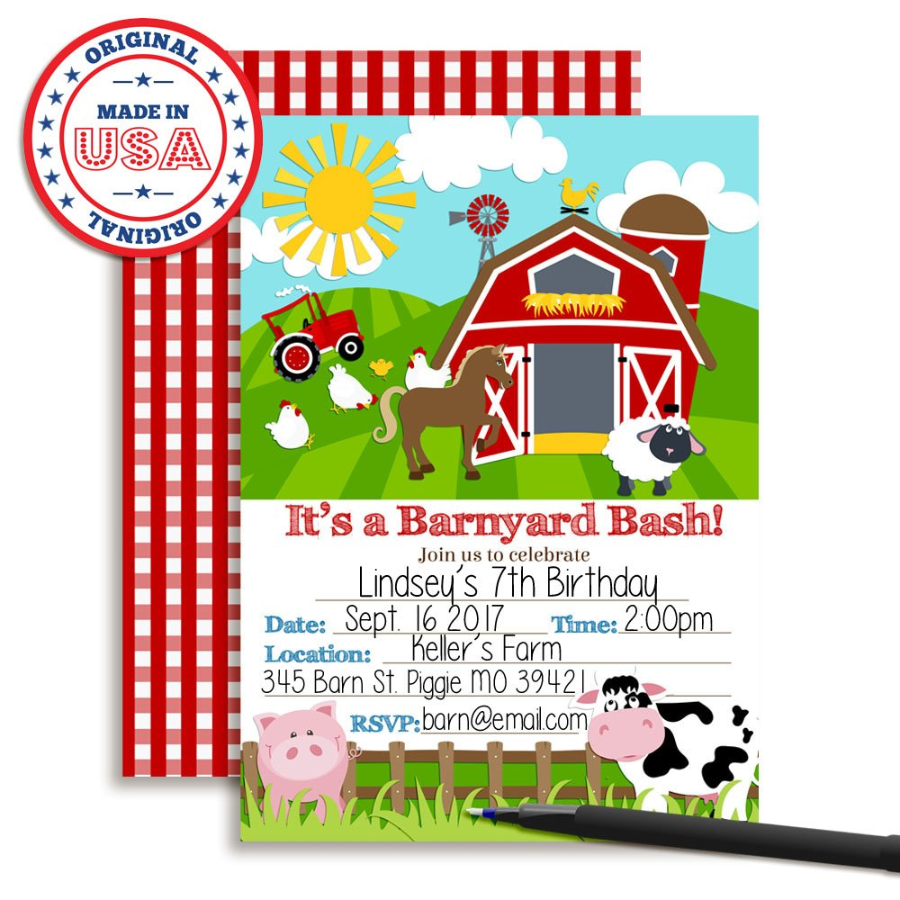 Barnyard Bash Farm and Barn Themed Birthday Party Invitations, Ten 5''x7'' Fill In Cards with 10 White Envelopes by AmandaCreation by Amanda Creation (Image #3)