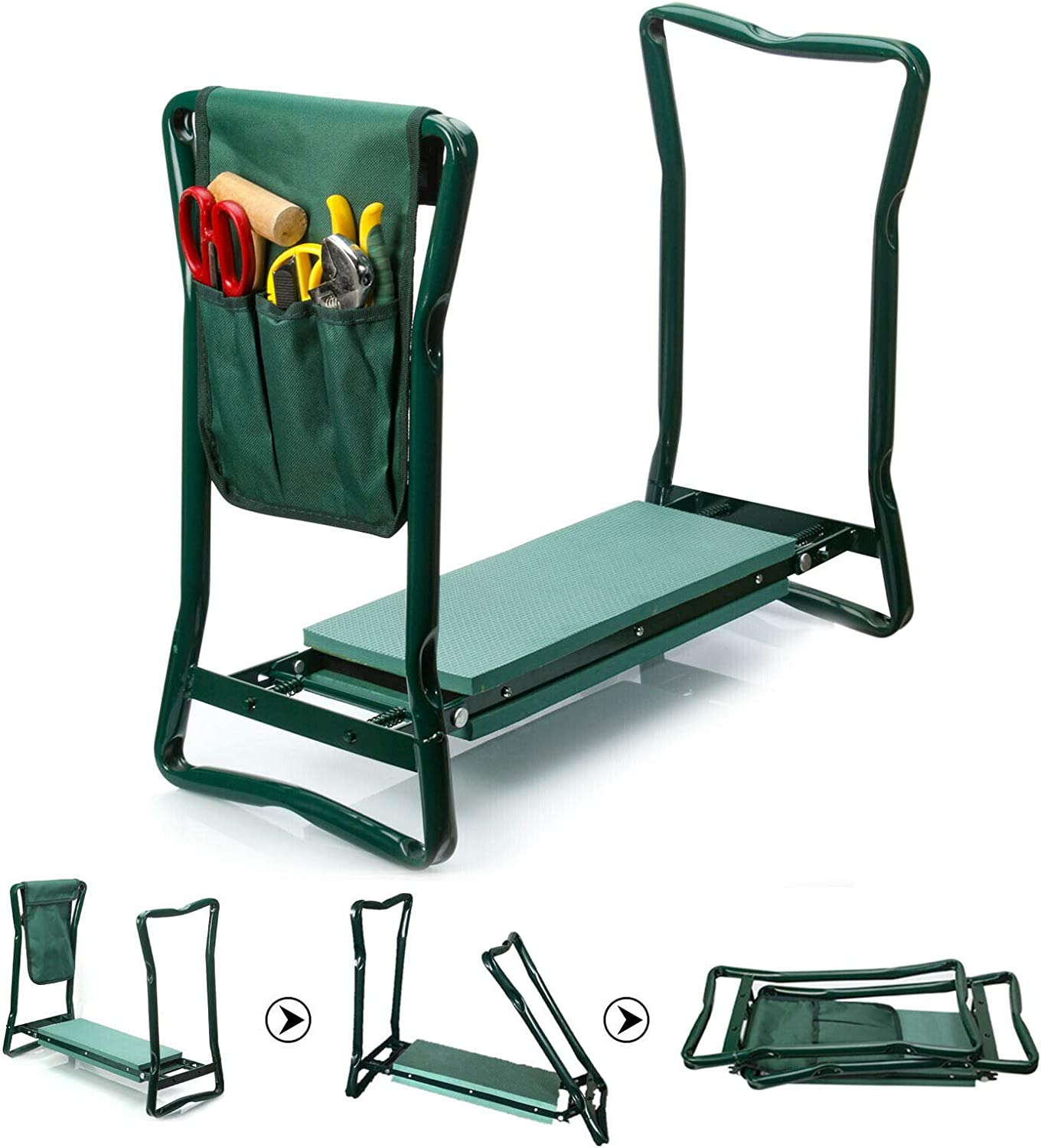 Folding Garden Chair Kneeler Seat Stainless Steel Garden Stool with Kneeling Pad for Gardening Lovers, Sturdy and Lightweight