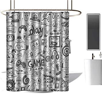 Video Games Shower Curtain Sketch Style Gaming Print for Bathroom