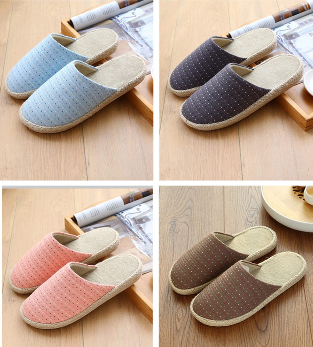 Unisex slip on zapatillas la humedad lino suela antideslizante Mulas con forro y algodón interior zapatos de hombre, tamaño