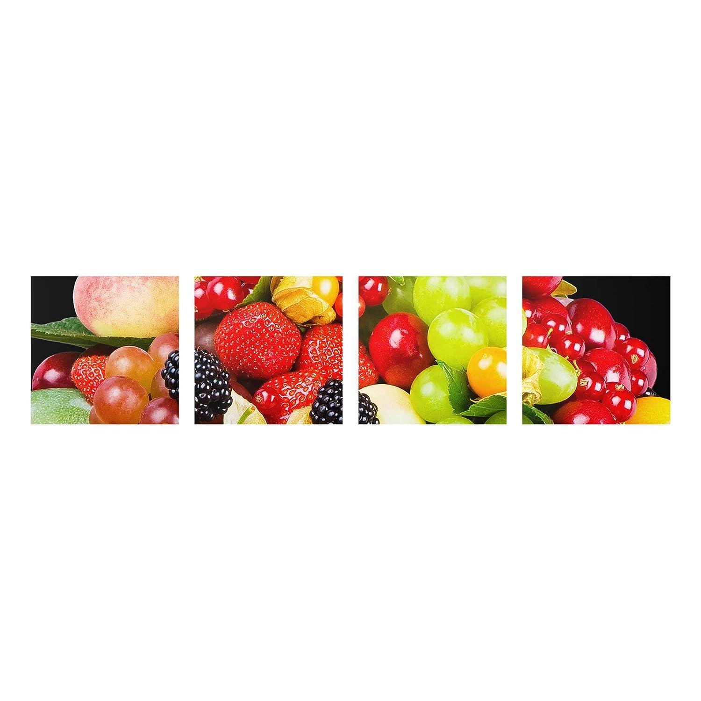 Bilderwelten Glasbild mehrteilig - Obst Mix 4-teilig, Größe HxB  4X 30x30cm