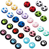 32 Pieces Silicone Thumb Grip Caps Joystick Caps Thumb Stick Caps Analog Stick Covers Button Caps Cat Paw and Football Design