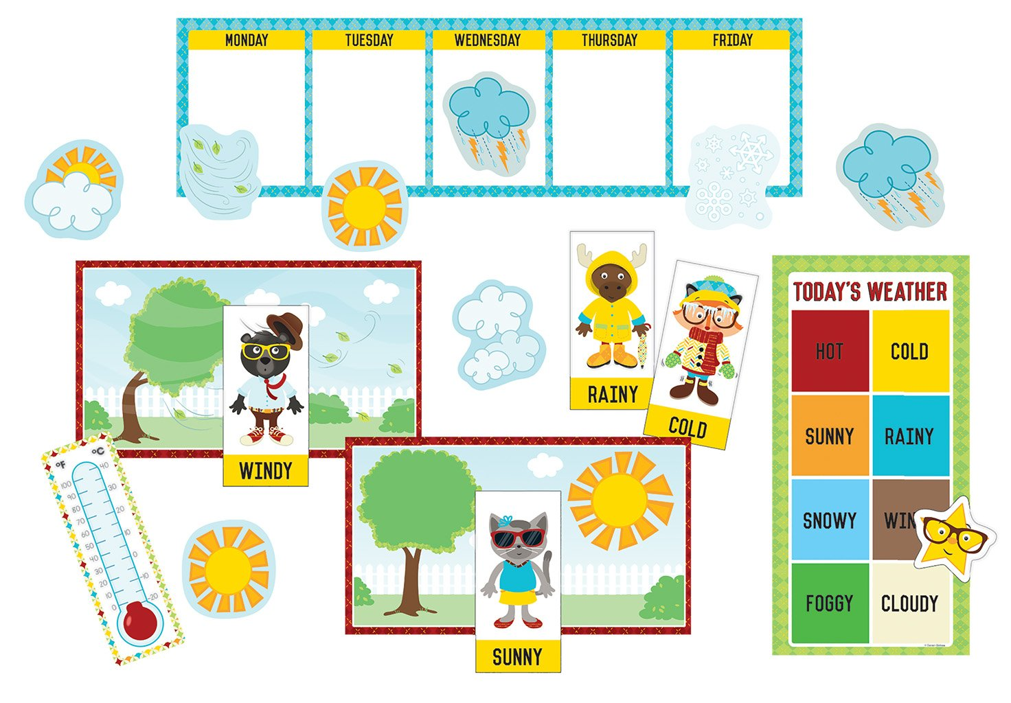 Hipster Weather Mini Bulletin Board Set (110339) General Education EDUCATION / General NON-CLASSIFIABLE