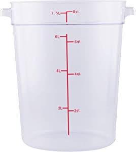 Caspian 8 Qt. Clear Round Food Storage Box Container with Red Gradations Plastic Space Saving For Home or Commercial Kitchen use, Food Prep and Storage, 1 Piece(8QT)