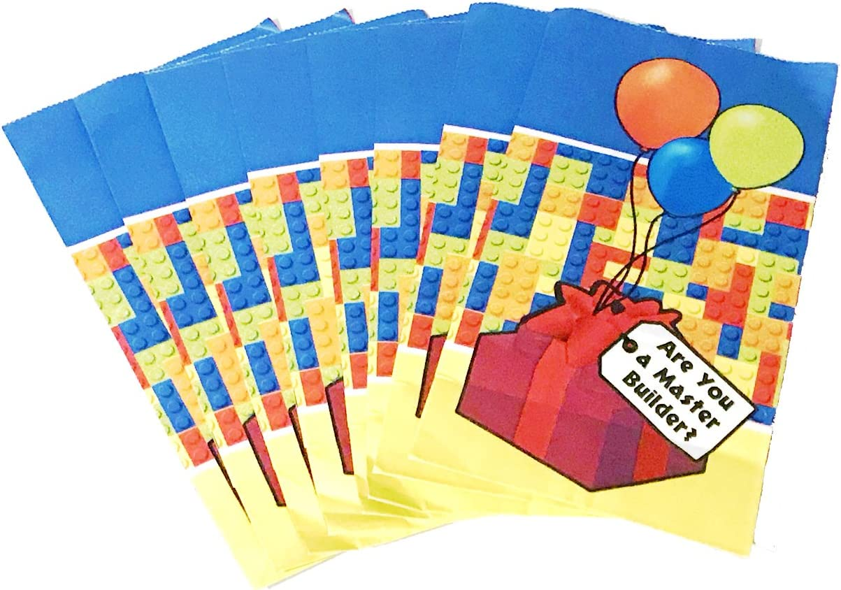 8 BRICKS BIRTHDAY PARTY BAGS RECYCLABLE LOOT TREAT FAVOUR GOODY GIFT BAG
