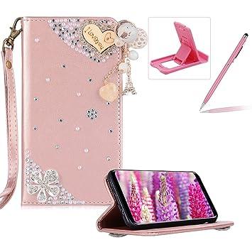 Bling Diamant Strass Coque pour Galaxy Note 8, Housse Étui en PU Cuir à  Rabat 4b4707a18fd