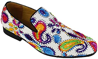 Men's Floral Embroidery Oxfords Shoes Slip-On Loafer White/Multi M31411