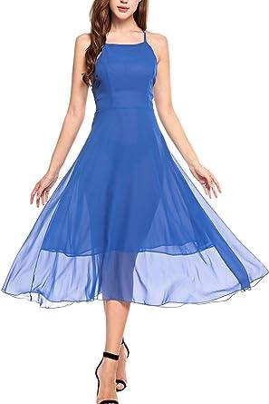 b850996d9325f Zeagoo Women s Sexy Shoulder-Straps Sleeveless Backless Solid Chiffon Midi  Dress