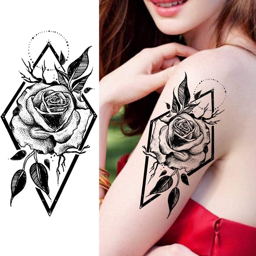 LAROI 8 Hojas Flor De Peonía Rosa Grande Tatuajes Temporales ...
