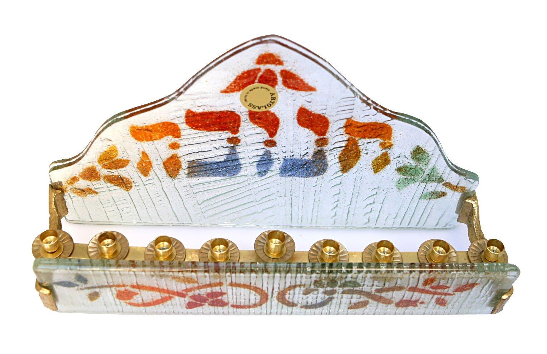 Hanukkah Menorah Hanukkia Unique Glass & Metal Collector's With ''Hanukkah'' in Hebrew Hand Made In Israel , 10.5'' x 6.25''. Jewish Art , Great Gift For; Shabbat Chanoka Rabbi Temple Wedding Baby Naming Housewarming Bar Mitzvah Bat Mitzva and Jewish Homes.
