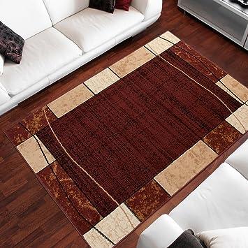 Amazon De Teppich Wohnzimmer Designer Muster Bordure Meliert In