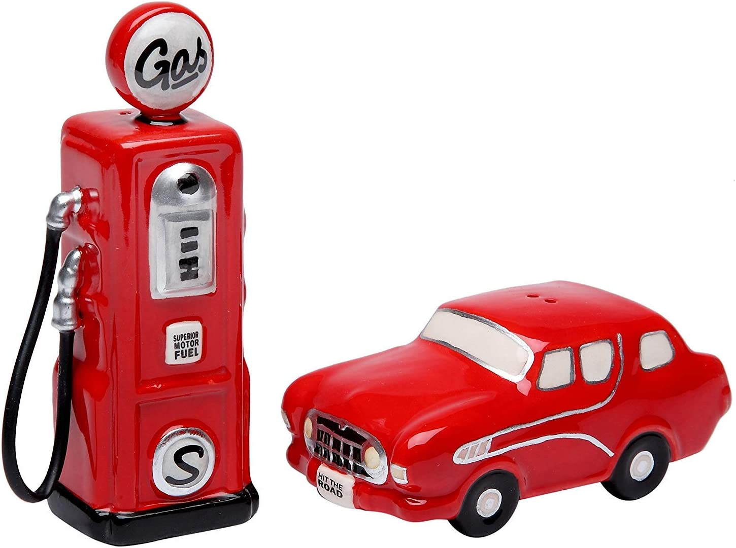 Amazon Com Cosmos Gifts 62520 Fine Ceramic Nostalgia Old Fashioned Classic Red Car And Red Gas Pump Salt And Pepper Shakers 4 1 4 H Kitchen Dining