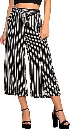 Pantalones Mujer Verano Elegantes Vintage Classic Rayas Casual Casual Cintura Alta 3 4 Pantalones Anchos Pantalon Amazon Es Ropa Y Accesorios