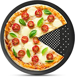 Pizza Pan with Holes, Segarty 10 inch Pizza Crisper Cooking Pan, Thickened Steel Pizza Tray for Oven, Round Perforated Baking Pan for Home & Restaurant Kitchen Cooking Tool