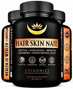 10X Potent Hair Growth Vitamins Infused with Keratin + Collagen + Silica for Vibrant Hair- Extra Strength Biotin 5000mcg - Healthy Hair Skin and Nails Vitamins - Hair Vitamins for Faster Hair Growth